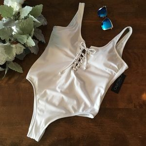 White Ribbed Lace Up Cheeky One Piece